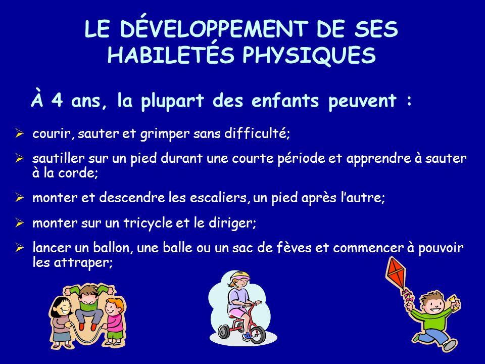 LE DÉVELOPPEMENT DE SES HABILETÉS PHYSIQUES