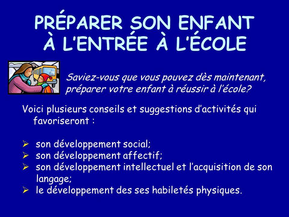 PRÉPARER SON ENFANT À L'ENTRÉE À L'ÉCOLE