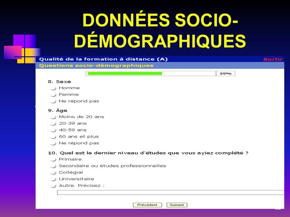 DONNÉES SOCIO-DÉMOGRAPHIQUES
