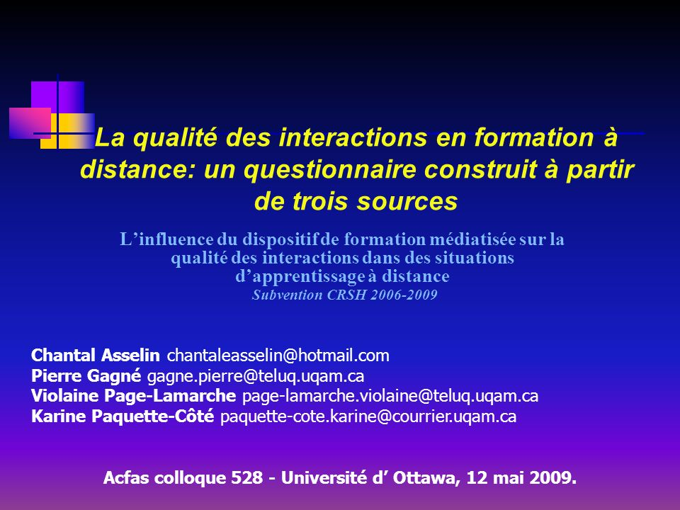 Acfas colloque Université d' Ottawa, 12 mai 2009.