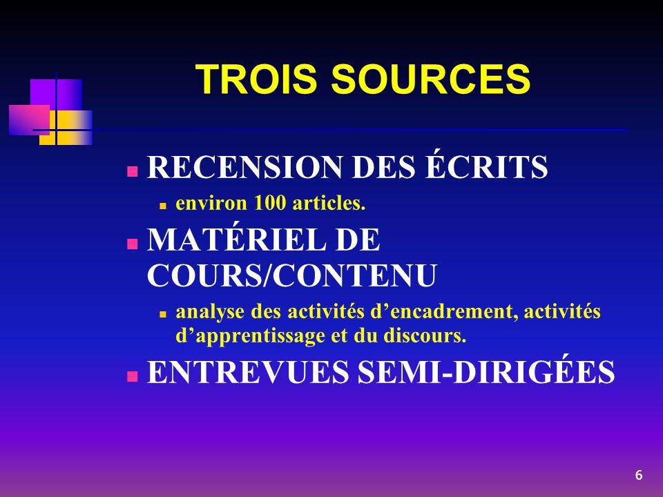 TROIS SOURCES RECENSION DES ÉCRITS MATÉRIEL DE COURS/CONTENU