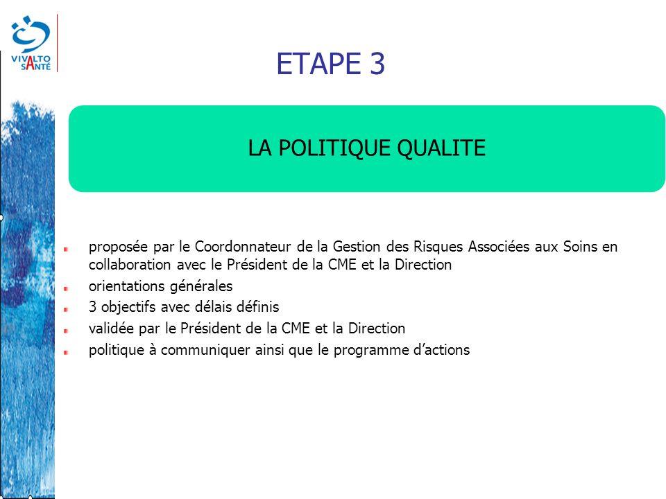 ETAPE 3 LA POLITIQUE QUALITE