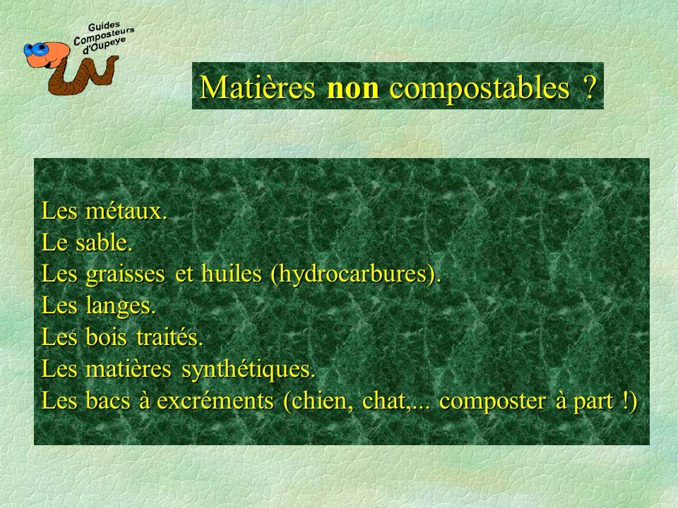 Matières non compostables