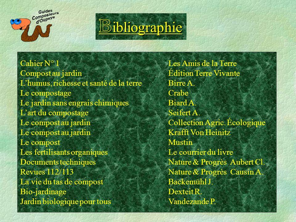 Bibliographie Cahier N° 1 Les Amis de la Terre