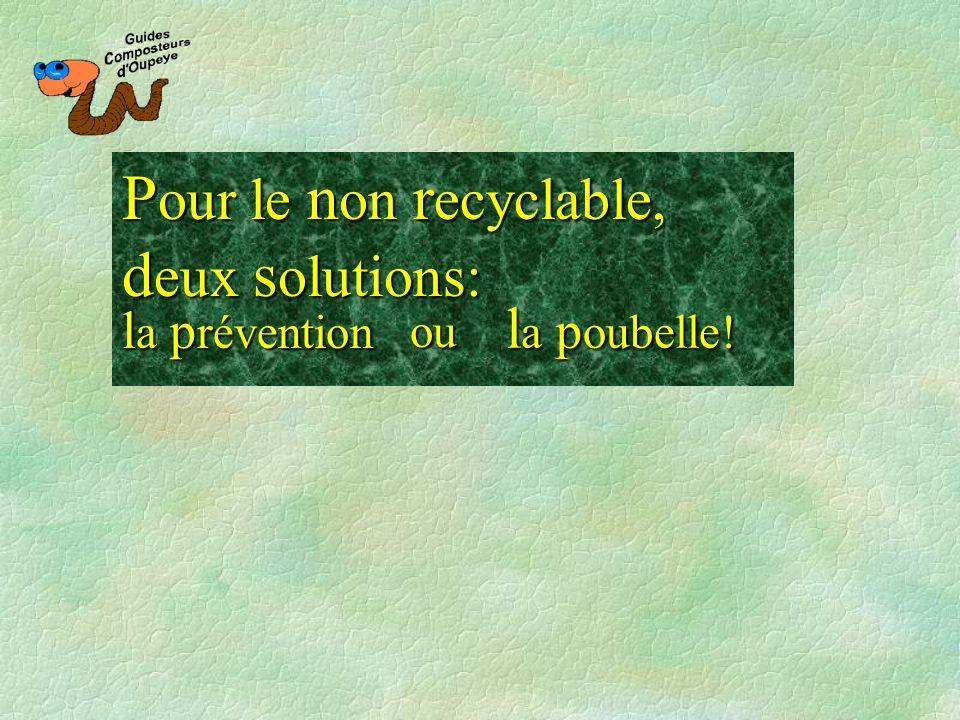Pour le non recyclable, deux solutions: la prévention la poubelle! ou