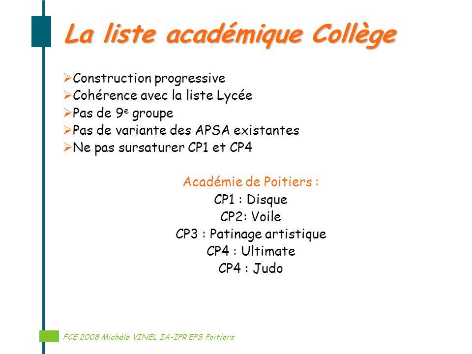La liste académique Collège
