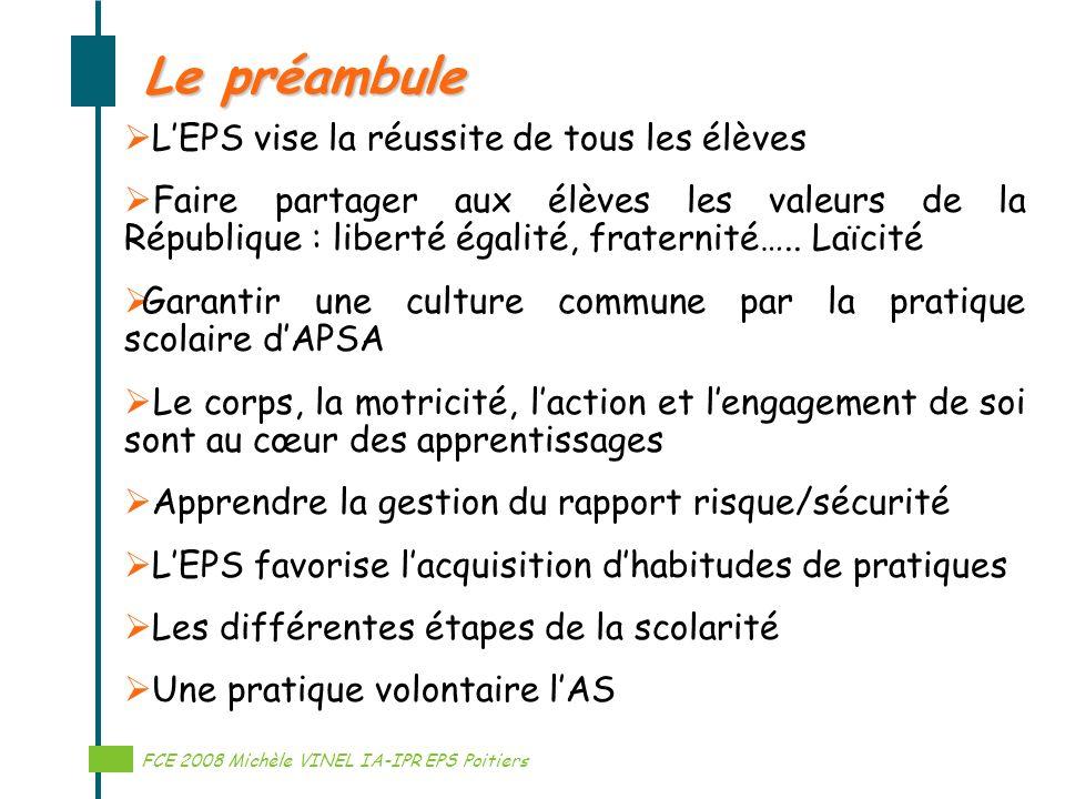Le préambule L'EPS vise la réussite de tous les élèves