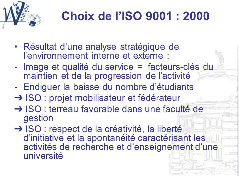 Choix de l'ISO 9001 : 2000Résultat d'une analyse stratégique de l'environnement interne et externe :
