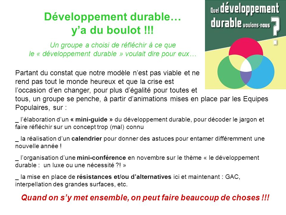 Développement durable… y'a du boulot !!!