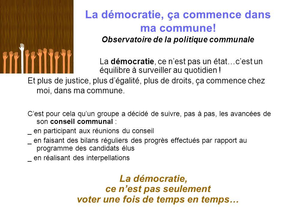 La démocratie, ça commence dans ma commune