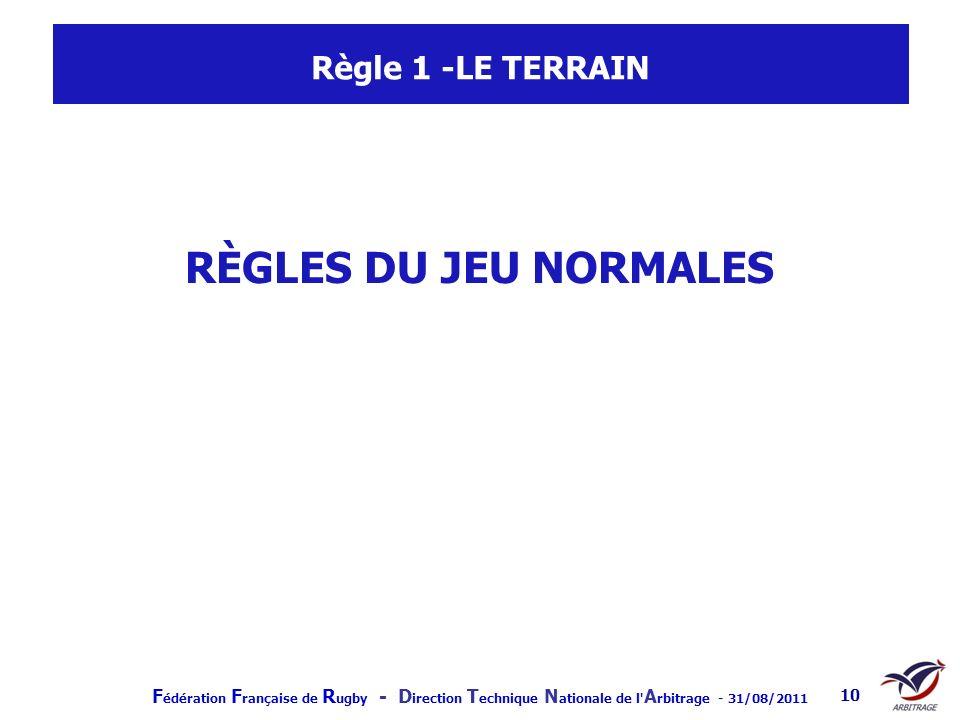 Règle 1 -LE TERRAIN RÈGLES DU JEU NORMALES