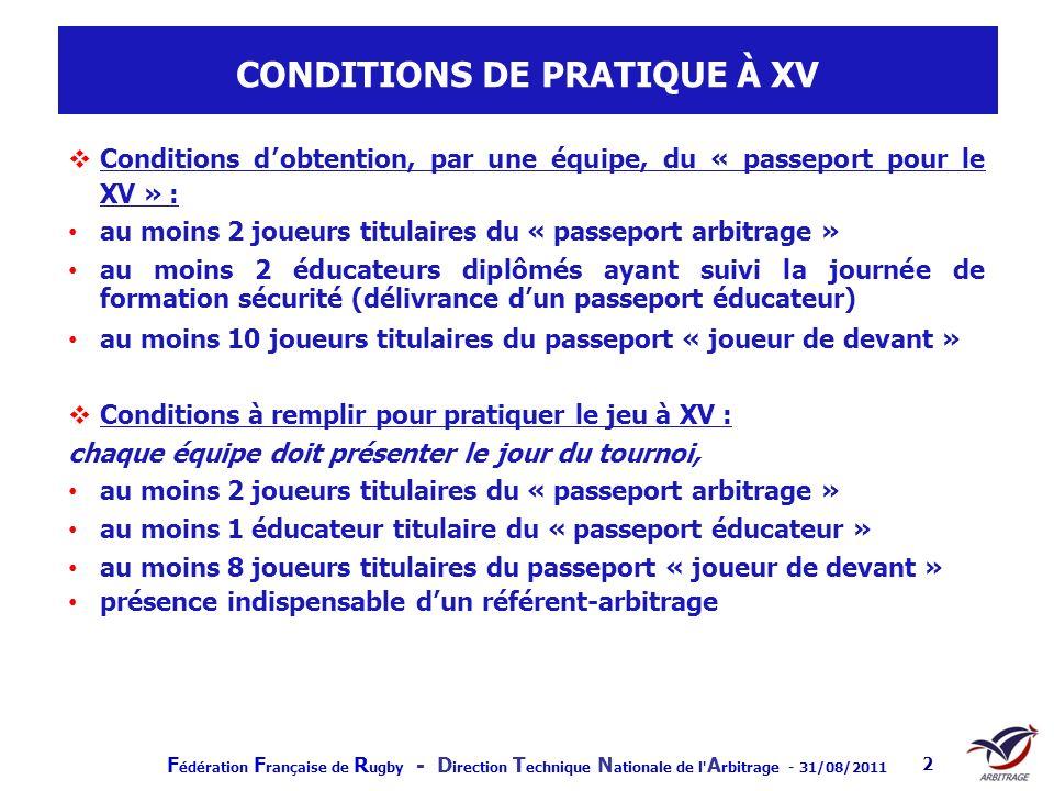 CONDITIONS DE PRATIQUE À XV