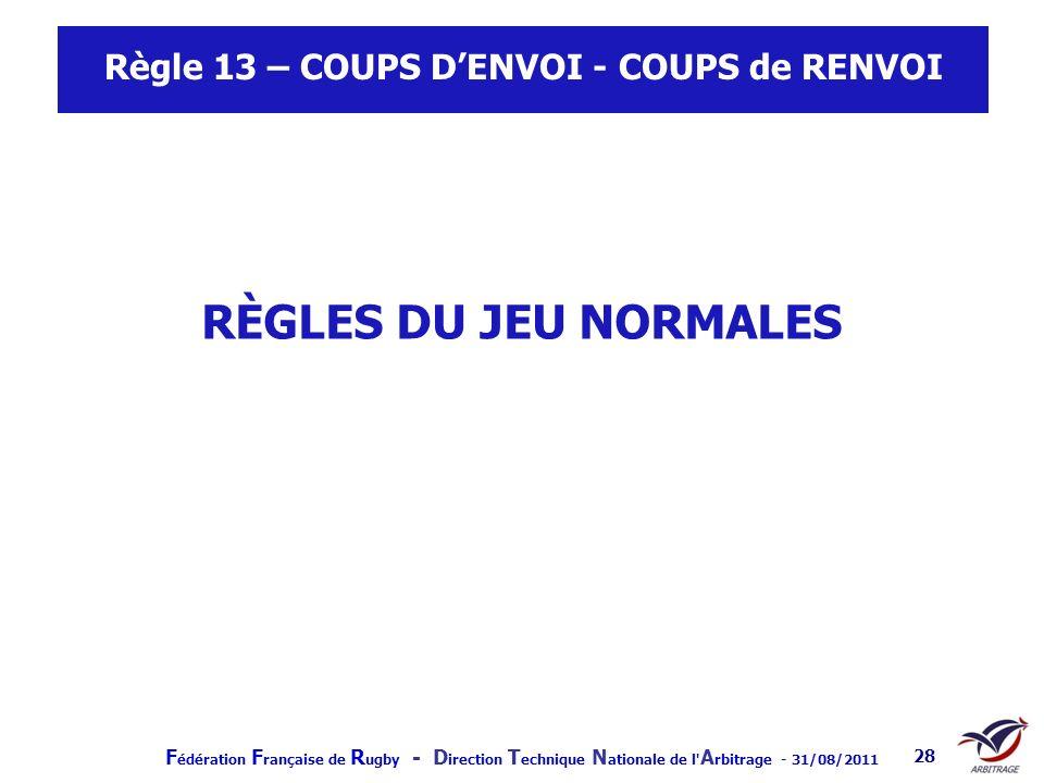 Règle 13 – COUPS D'ENVOI - COUPS de RENVOI