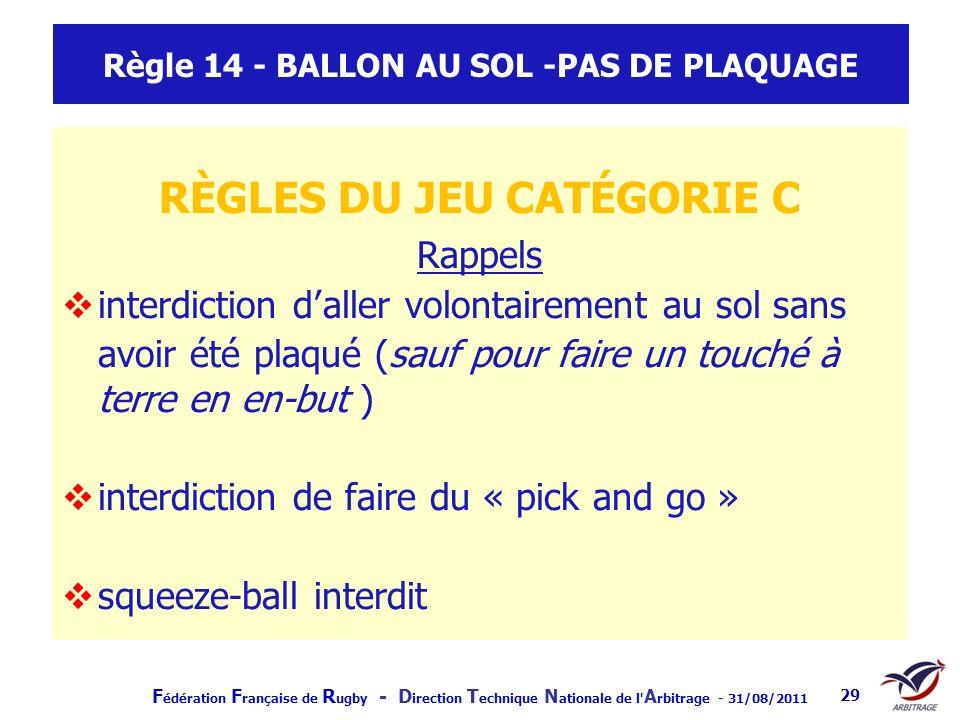 Règle 14 - BALLON AU SOL -PAS DE PLAQUAGE