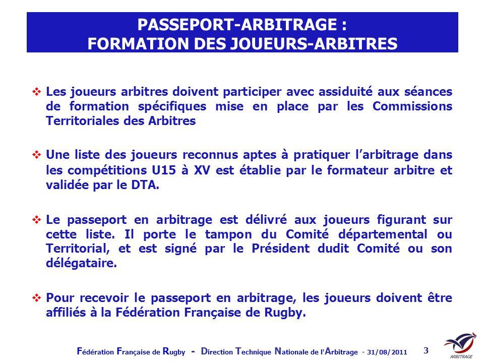 PASSEPORT-ARBITRAGE : FORMATION DES JOUEURS-ARBITRES