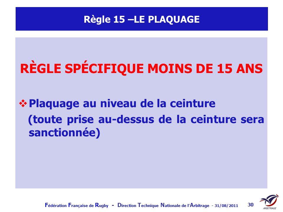 RÈGLE SPÉCIFIQUE MOINS DE 15 ANS