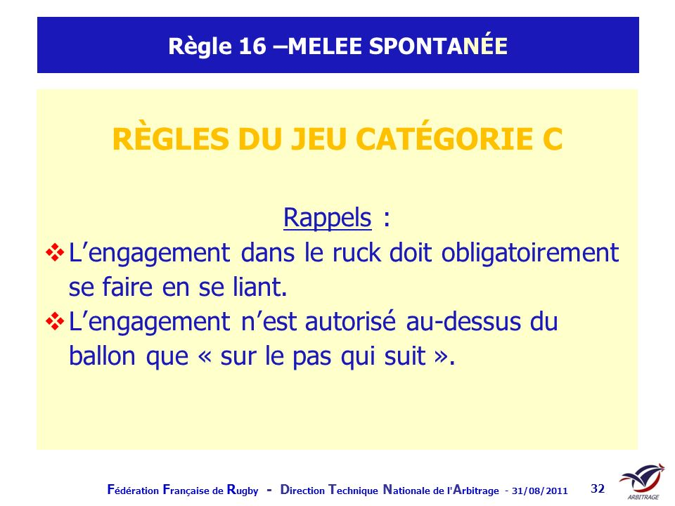Règle 16 –MELEE SPONTANÉE