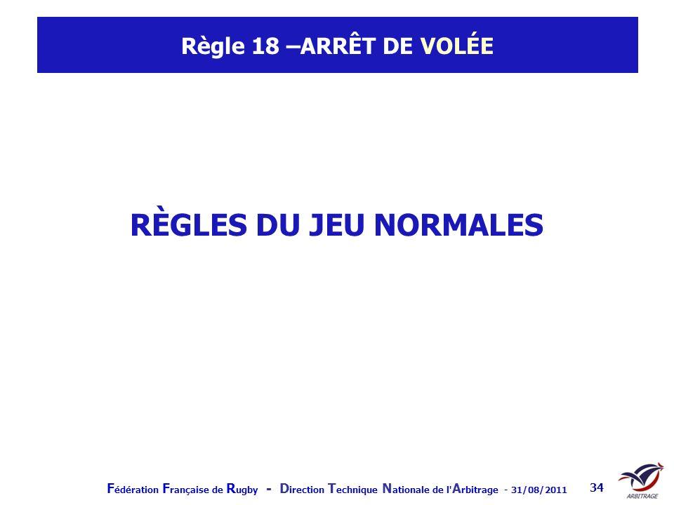 Règle 18 –ARRÊT DE VOLÉE RÈGLES DU JEU NORMALES