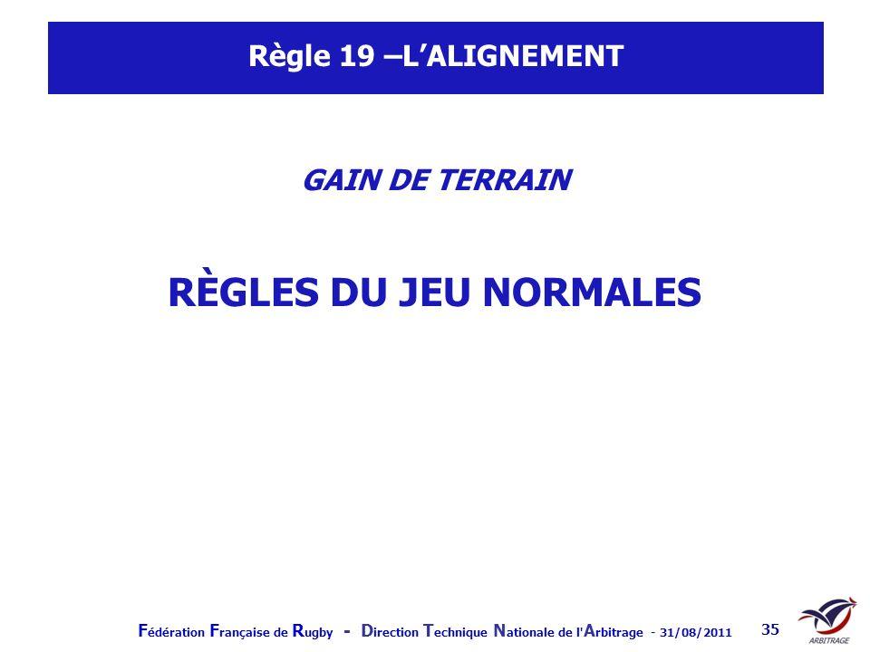 Règle 19 –L'ALIGNEMENT GAIN DE TERRAIN RÈGLES DU JEU NORMALES