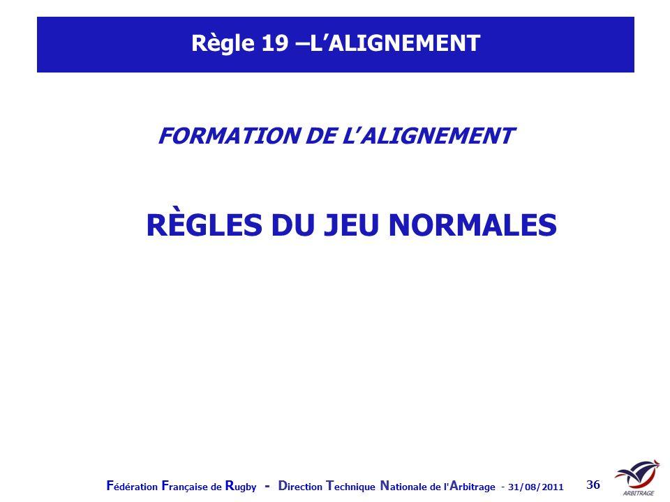 FORMATION DE L'ALIGNEMENT