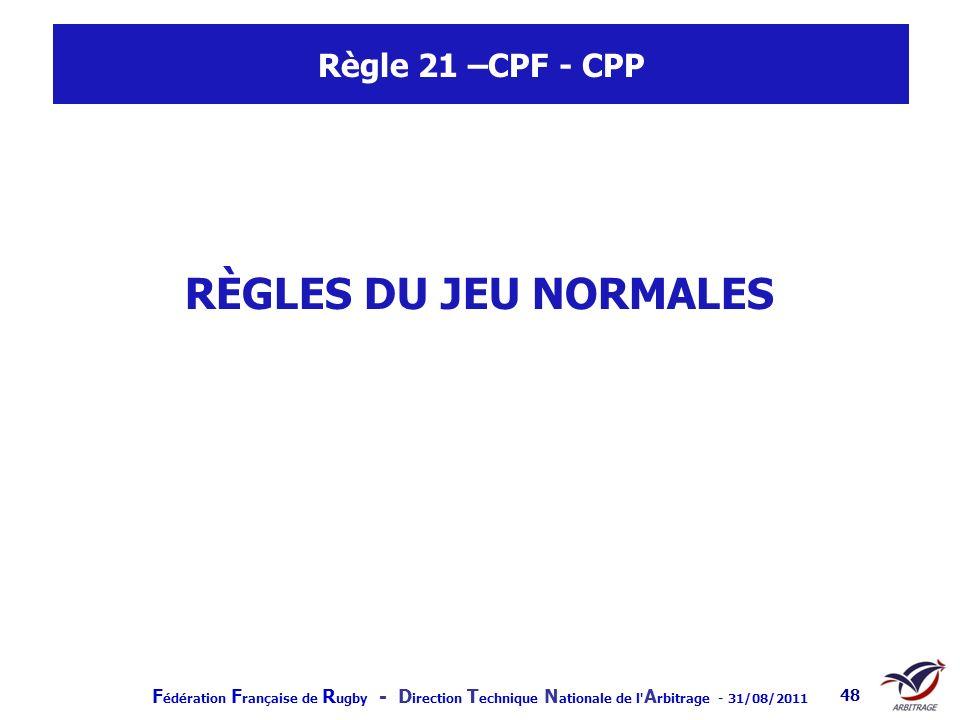 Règle 21 –CPF - CPP RÈGLES DU JEU NORMALES