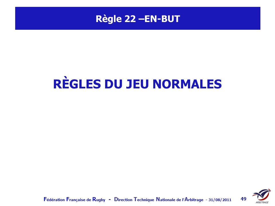 Règle 22 –EN-BUT RÈGLES DU JEU NORMALES