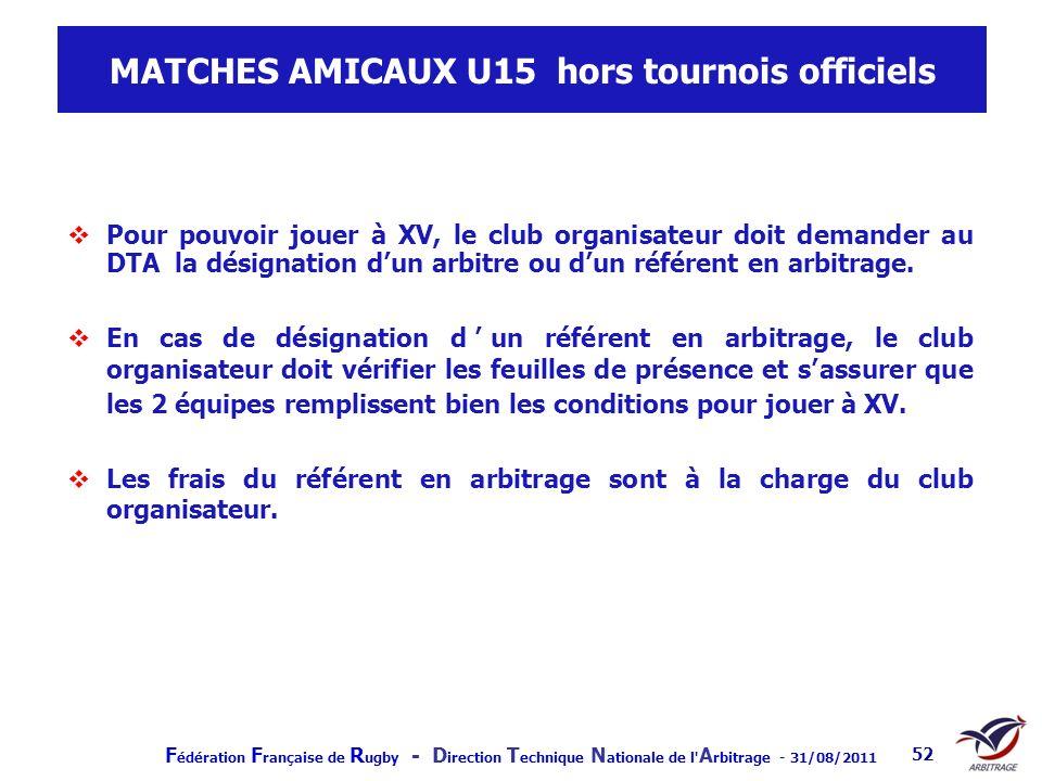 MATCHES AMICAUX U15 hors tournois officiels