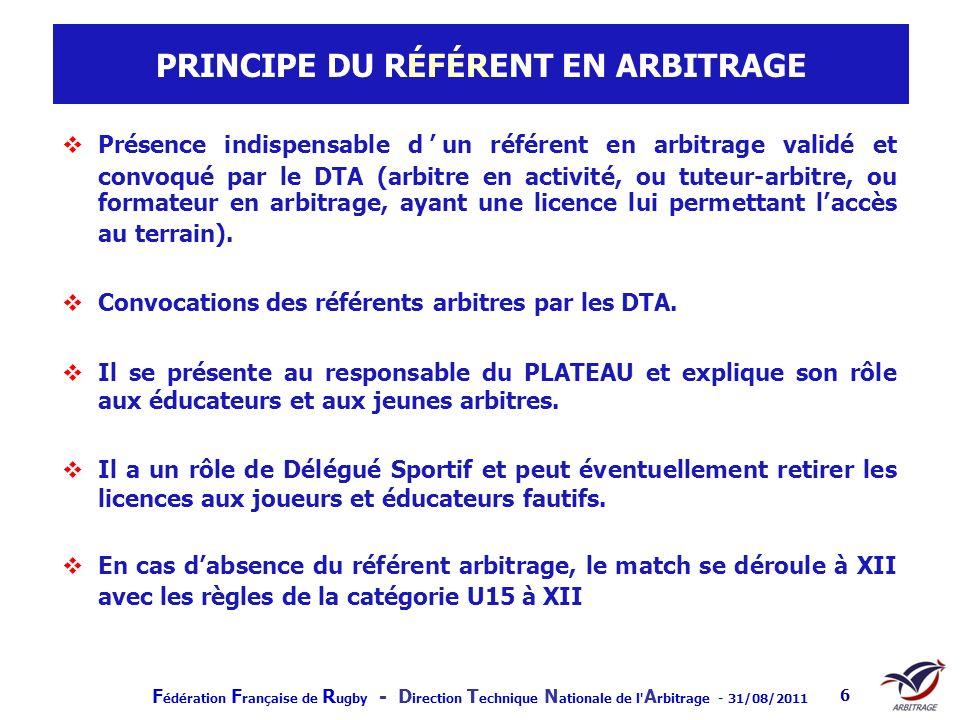 PRINCIPE DU RÉFÉRENT EN ARBITRAGE