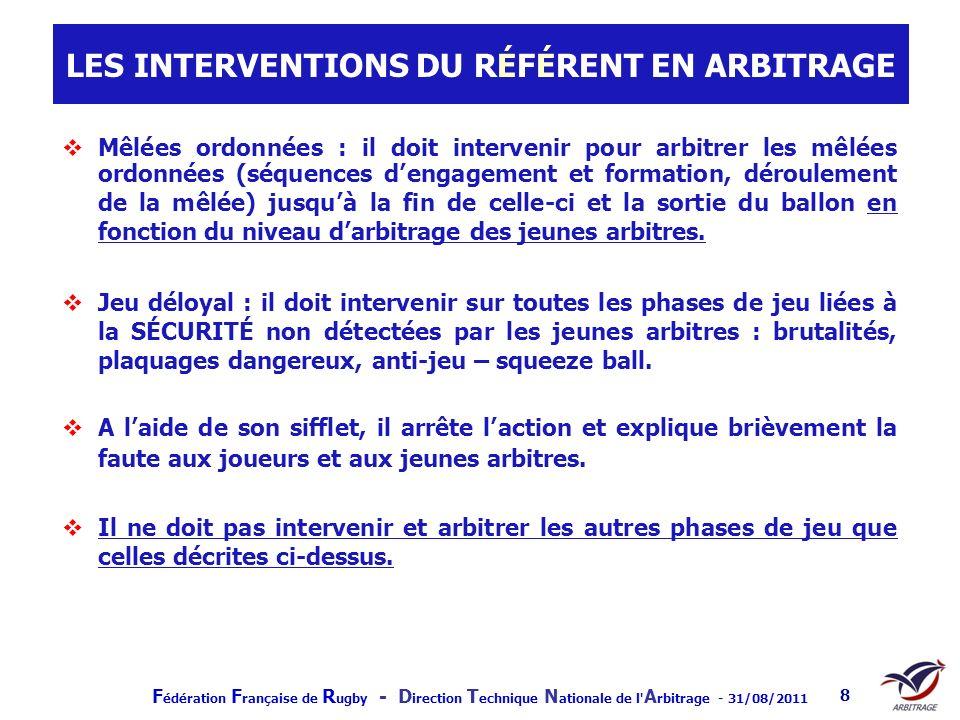 LES INTERVENTIONS DU RÉFÉRENT EN ARBITRAGE