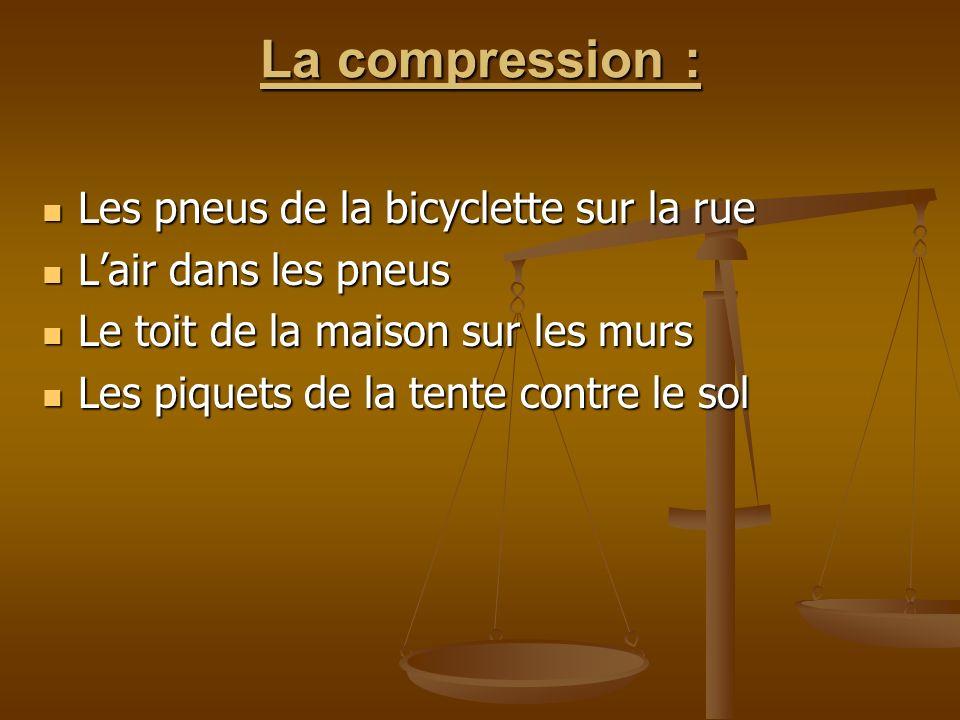 La compression : Les pneus de la bicyclette sur la rue