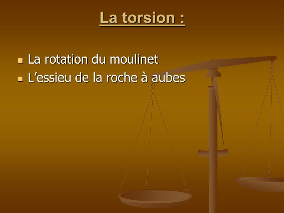 La torsion : La rotation du moulinet L'essieu de la roche à aubes