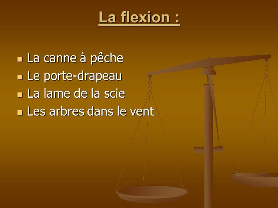La flexion : La canne à pêche Le porte-drapeau La lame de la scie