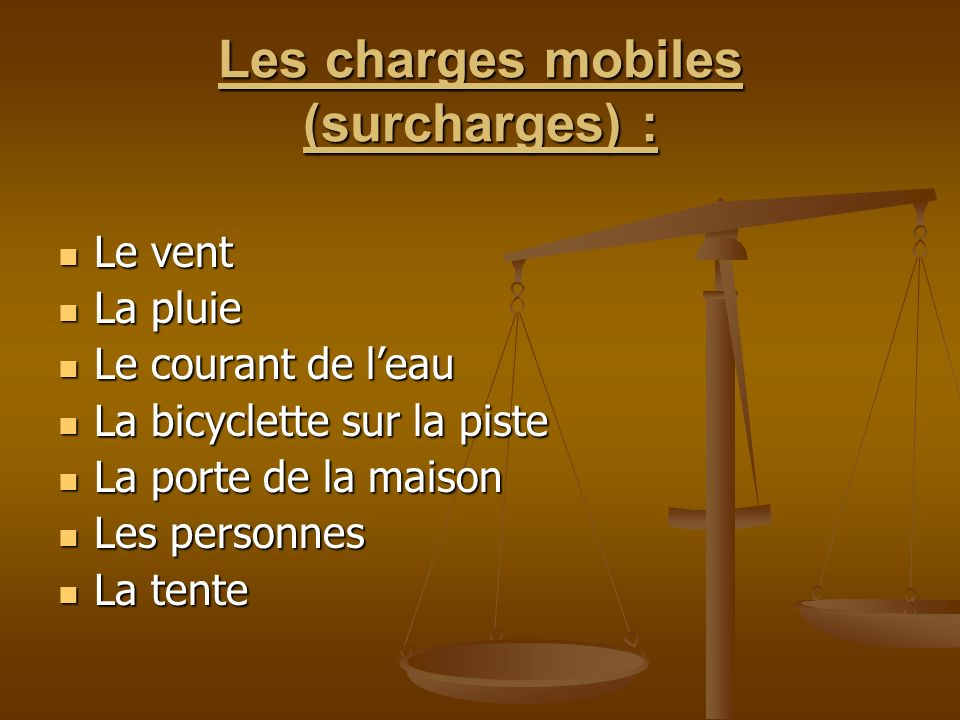 Les charges mobiles (surcharges) :