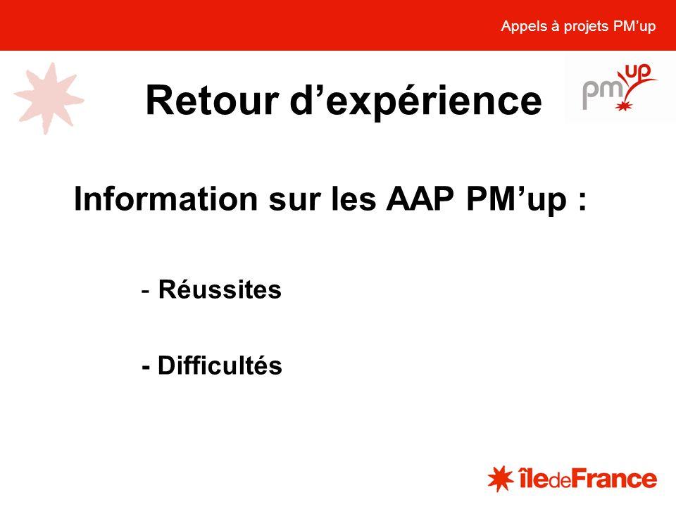 Retour d'expérience Information sur les AAP PM'up : Réussites