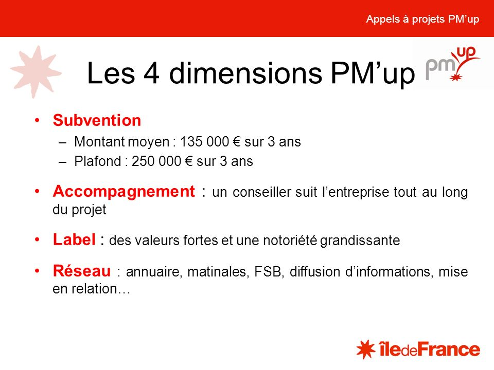 Les 4 dimensions PM'up Subvention