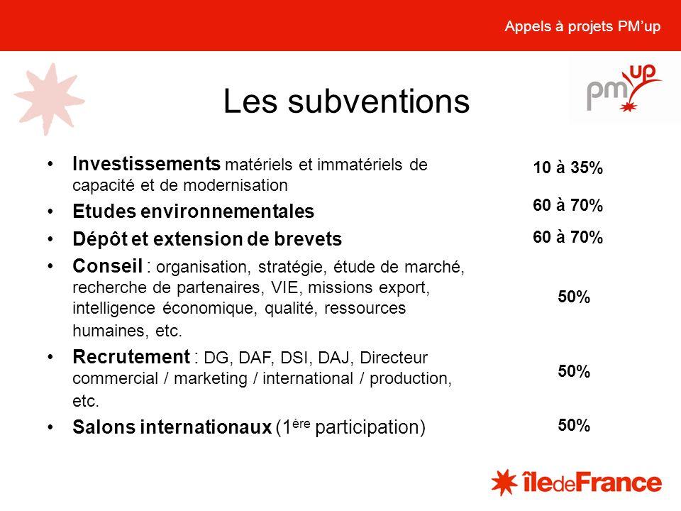 Appels à projets PM'up Les subventions. Investissements matériels et immatériels de capacité et de modernisation.