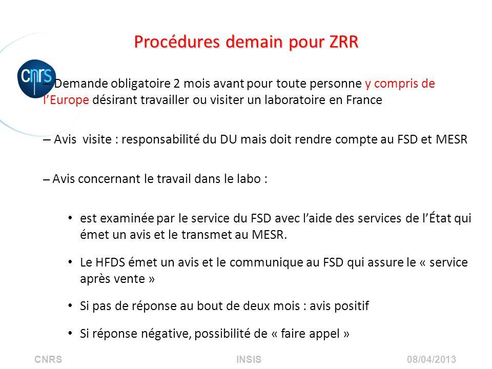 Procédures demain pour ZRR