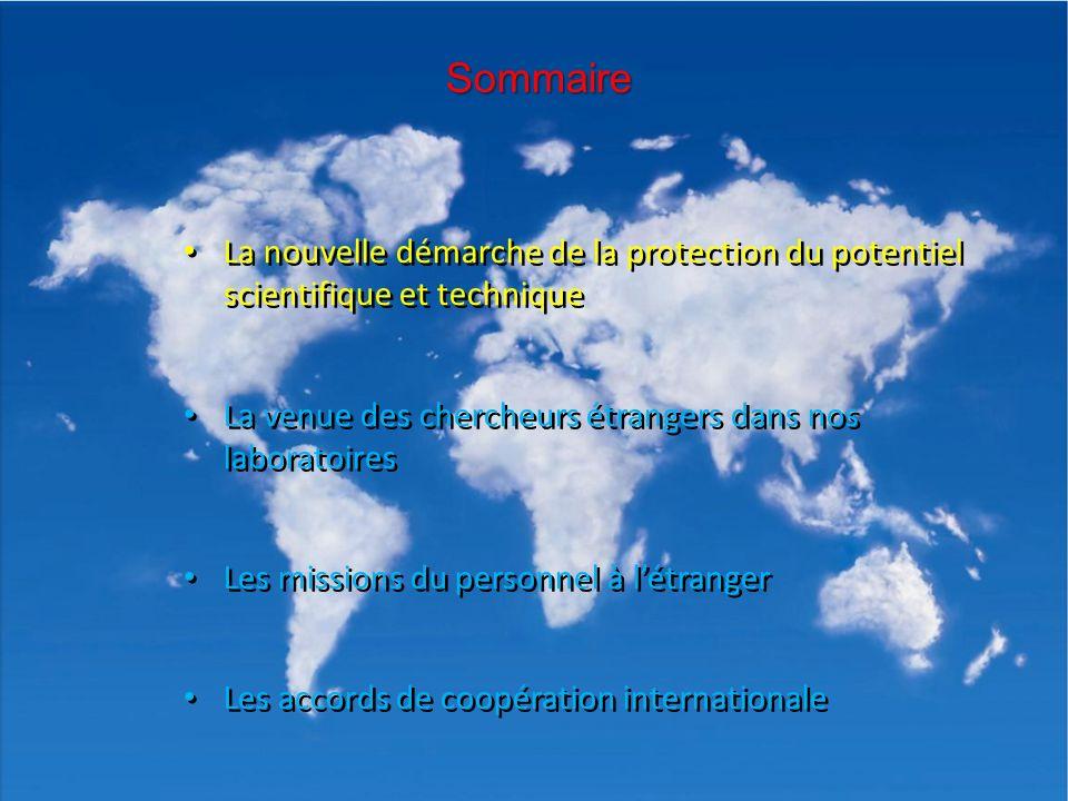 Sommaire La nouvelle démarche de la protection du potentiel scientifique et technique. La venue des chercheurs étrangers dans nos laboratoires.