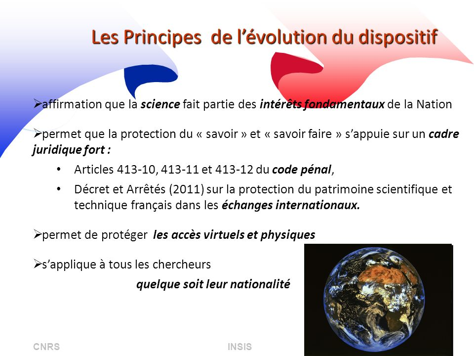 Les Principes de l'évolution du dispositif