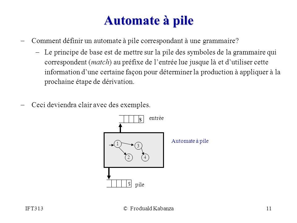 Automate à pile Comment définir un automate à pile correspondant à une grammaire