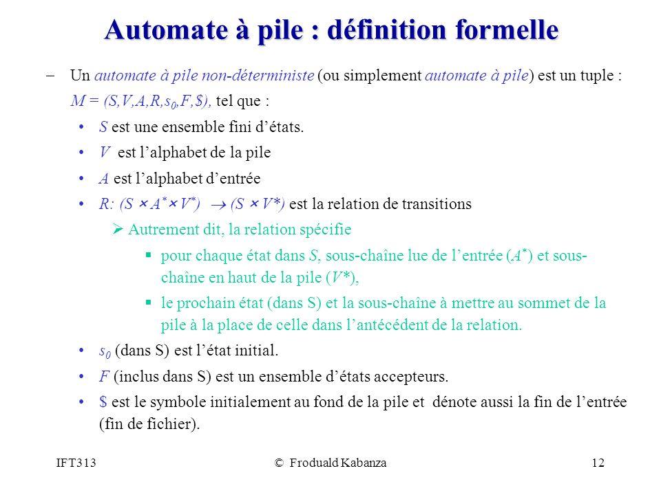 Automate à pile : définition formelle