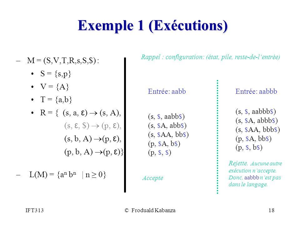 Exemple 1 (Exécutions) M = (S,V,T,R,s,S,$) : S = {s,p} V = {A}