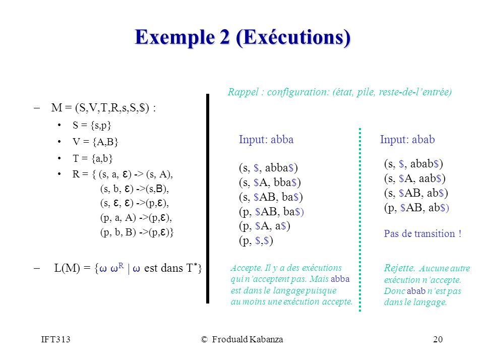 Exemple 2 (Exécutions) M = (S,V,T,R,s,S,$) :