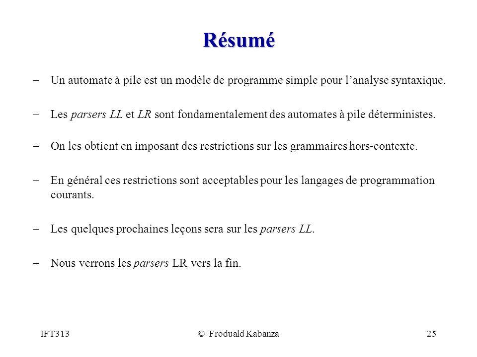 Résumé Un automate à pile est un modèle de programme simple pour l'analyse syntaxique.