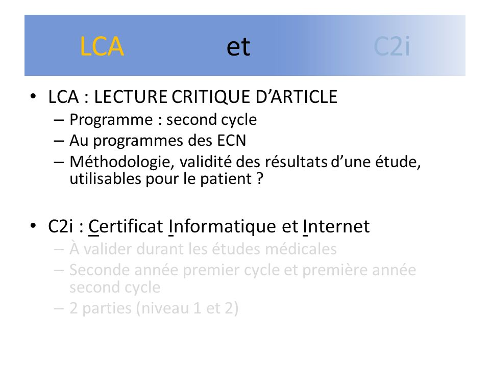LCA et C2i LCA : LECTURE CRITIQUE D'ARTICLE