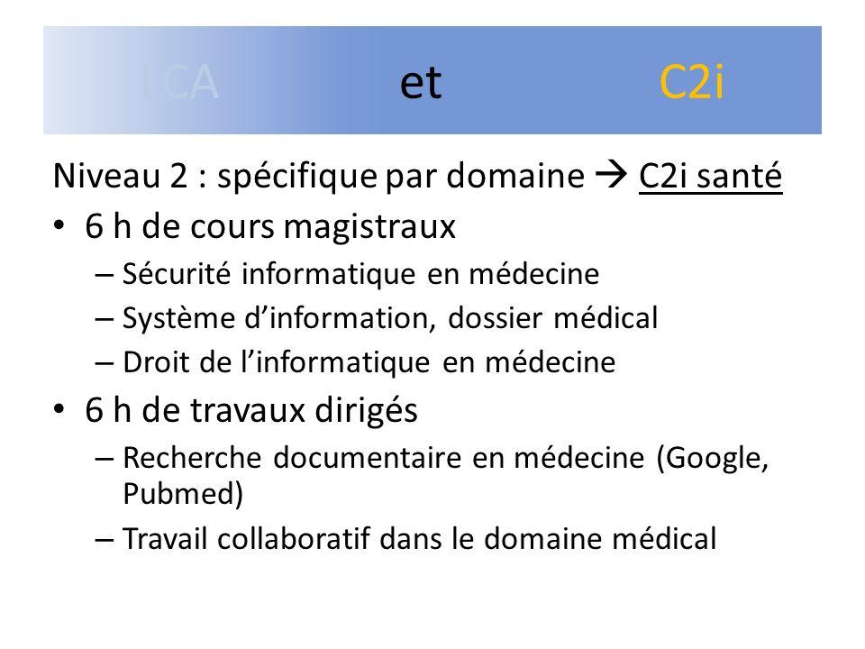 LCA et C2i Niveau 2 : spécifique par domaine  C2i santé