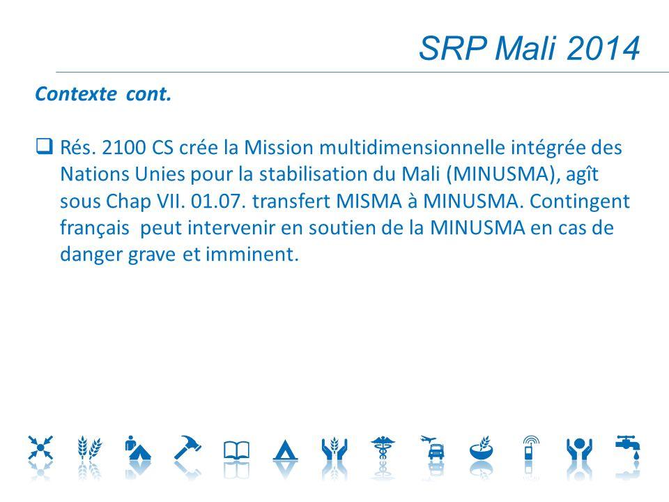 SRP Mali 2014 Contexte cont.