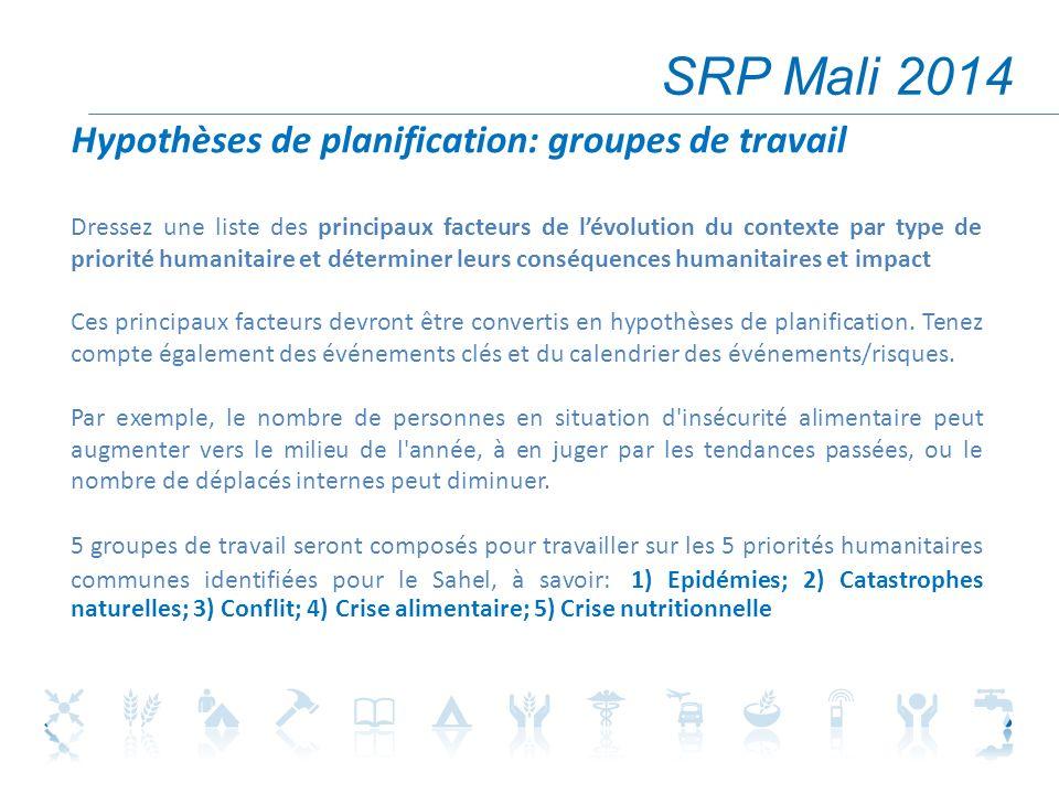 SRP Mali 2014 Hypothèses de planification: groupes de travail