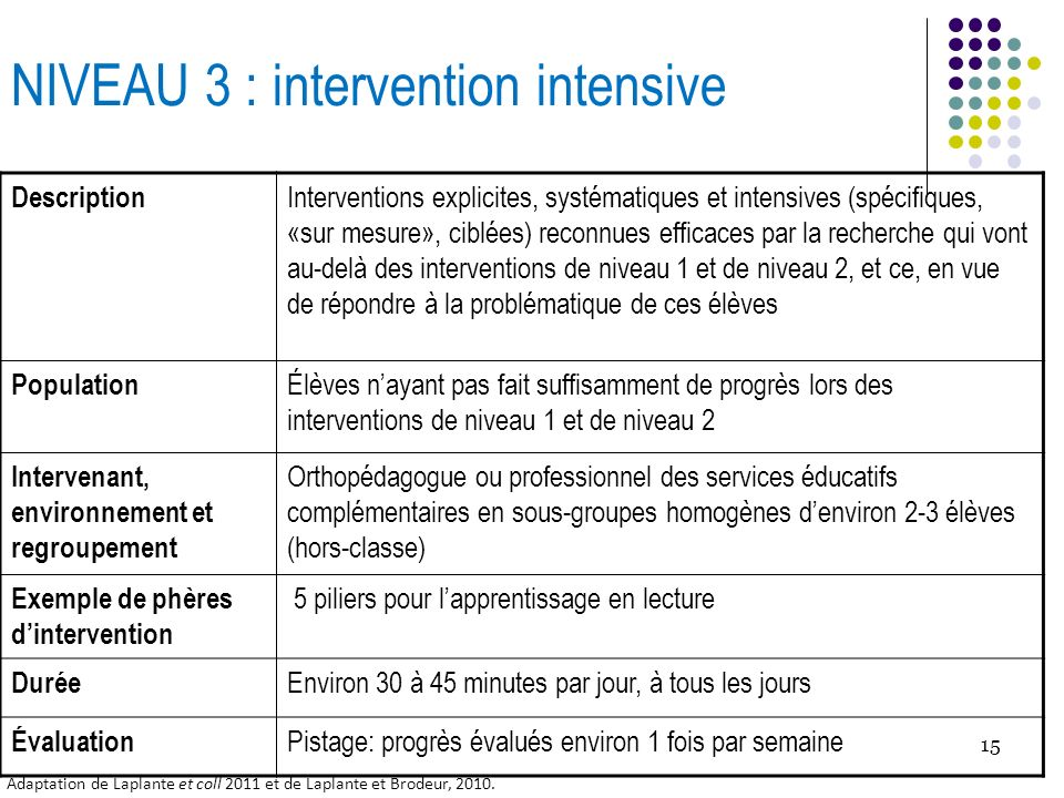 NIVEAU 3 : intervention intensive