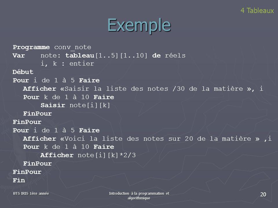 Introduction à la programmation et algorithmique